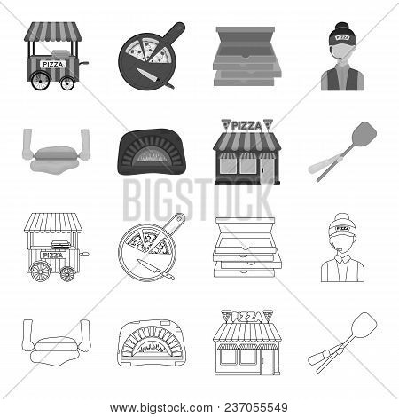 Pizza Dough, Oven, Pizzeria Building, Spatula For Billets. Pizza And Pizzeria Set Collection Icons I