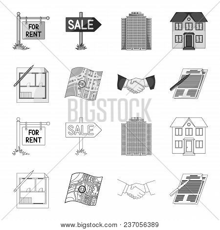 House Plan, Documents For Signing, Handshake, Terrain Plan. Realtor Set Collection Icons In Outline,