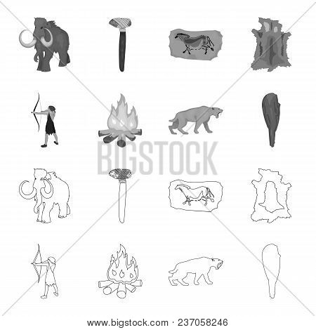 Man, Hunter, Onion, Bonfire .stone Age Set Collection Icons In Outline, Monochrome Style Vector Symb