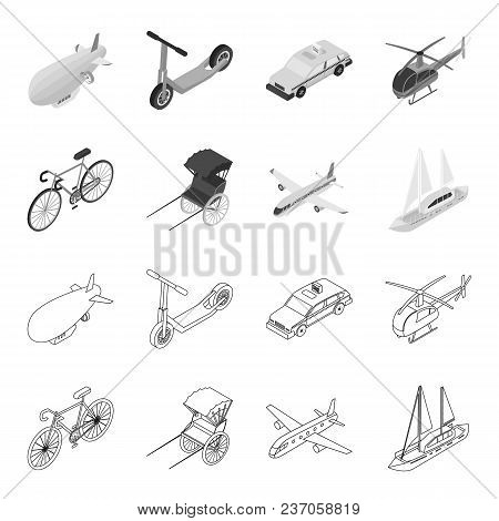 Bicycle, Rickshaw, Plane, Yacht.transport Set Collection Icons In Outline, Monochrome Style Vector S