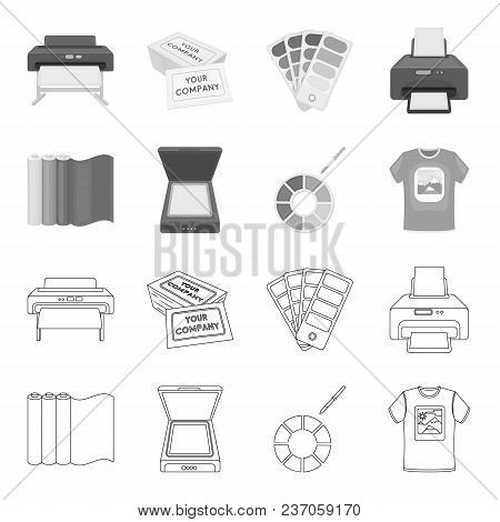Scanner, Color Palette And Other Equipment. Typography Set Collection Icons In Outline, Monochrome S