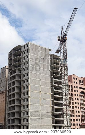 Construction Of New Many-storied Residential Building In Yerevan, Armenia