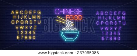Neon Alphabet And Chinese Noodle With Chinese Food Lettering Over Brick Background. Chinese Restaura
