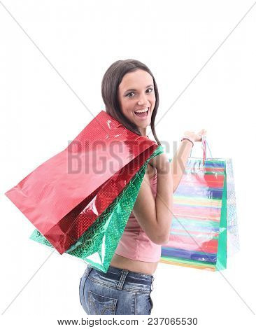 Picture of pretty woman with shopping bags