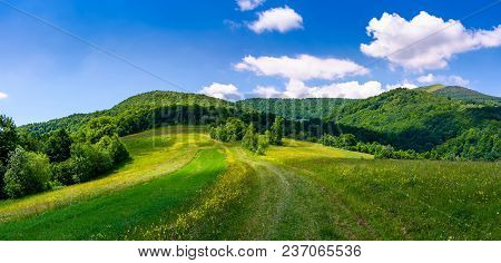 Beautiful Panorama Of Mountainous Countryside. Lovely Summer Scenery In Fine Weather Condition. Rura