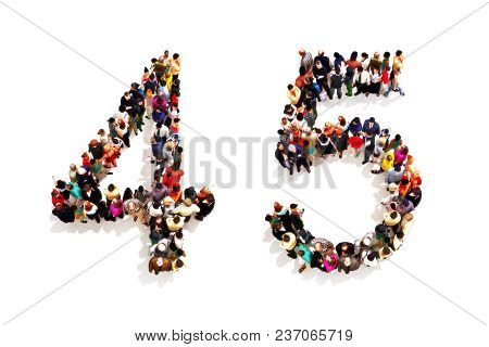 People Forming The Shape As A 3d Number Four (4) And Five (5) Symbol On A White Background. 3d Rende