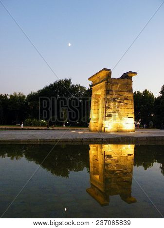 Temple Of Debod At Sunset In Madrid