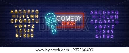 Neon Alphabet And Comedy Show Lettering With Mike In Frame On Brick Background. Show, Nightclub, Com