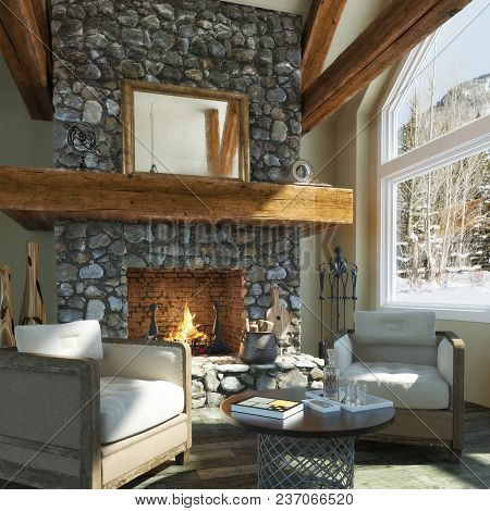 Luxurious Open Floor Cabin Interior Design With Roaring Fireplace And Winter Scenic Background. Phot