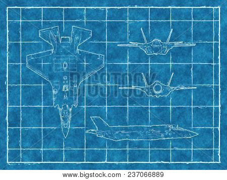 Blueprint Of A Jet F35 Aircraft With Four Views. 3d Rendering