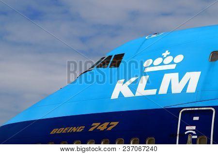 Lelystad, The Netherlands - June 21, 2014: Boeing 747 Cockpit From Royal Dutch Airlines Klm Air Fran
