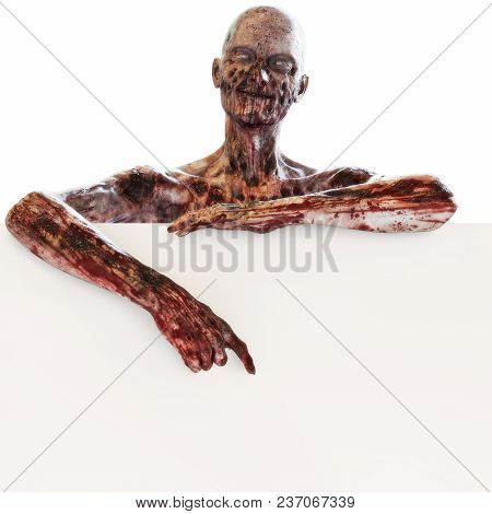 Zombie Undead Leaning And Pointing At A Large Blank Advertisement Sign Card On A Isolated White Back