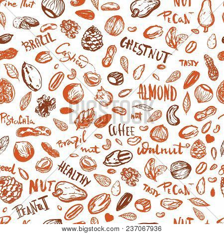 Grunge Nuts Seamless Pattern In Brown Autumn Color With Hazelnut, Walnut, Pine Nuts, Pecan, Peanut.