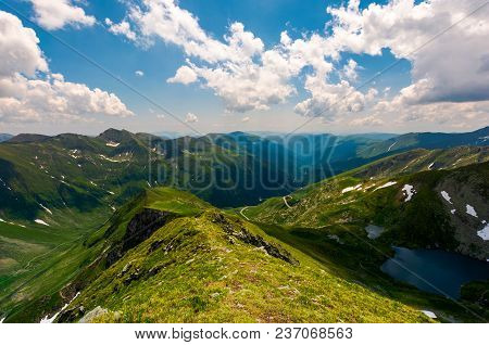 View From Saua Vaiuga In To The Valley Of Fagaras. Beautiful Summer Landscape Of Southern Carpathian