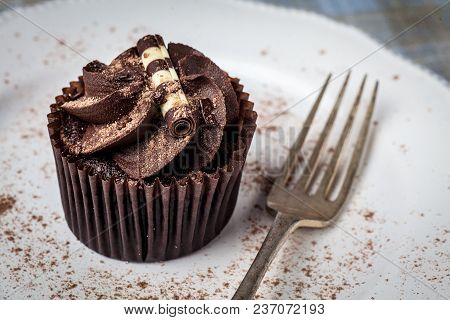 Chocolate Cupcake On White Plate With Fork, Dusted With Cocoa Powder