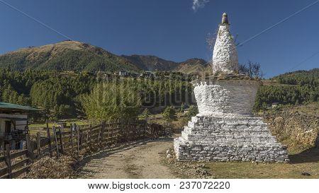 Chorten In Phobjikha Valley. Kingdom Of Bhutan. Asia