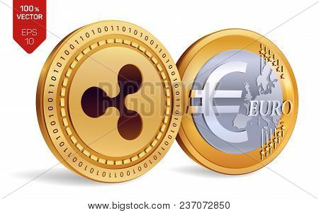 Ripple. Euro Coin. 3d Isometric Physical Coins. Digital Currency. Cryptocurrency. Golden Coins With