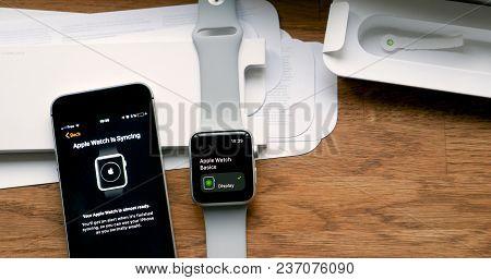 Paris, France - Apr 12 2018: Pov Man Unboxing Unpacking Latest Apple Watch Series 3 Gps Lte Smartwat