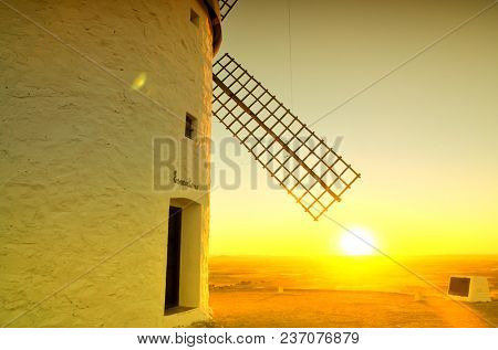 Espartero is one of the famous windmills in Consuegra, Spain. Spanish destination. Espartero is the name of the windmill which translates to one who makes and sells articles of feathergrass.