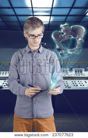 Virtual Reality In Medicine Concept. Male / Man In Shirt And Glasses As 3d Cad / Cam Designer Engine