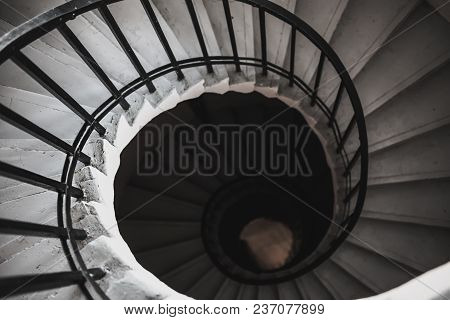 View To The Circle Spiral Staircase In Old Building, Black And White