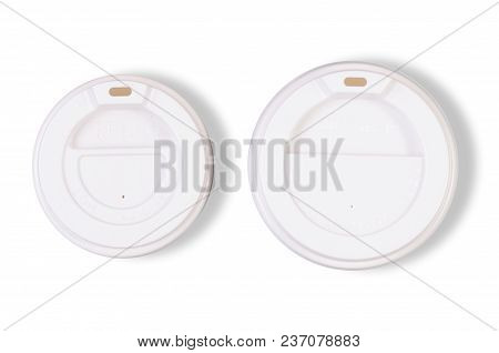 Two Cups Glass Of Coffee Cardboard On White Background Isolation, Top View