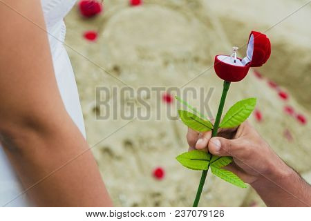 Man Giving Gift Box With Engagement Ring To Woman. Boyfriend Making Marriage Proposal To Girlfriend.