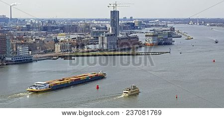 Aerial view from the harbor in Amsterdam Netherlands