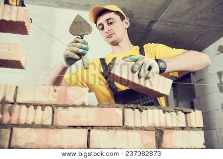 bricklayer builder worker laying bricks wall