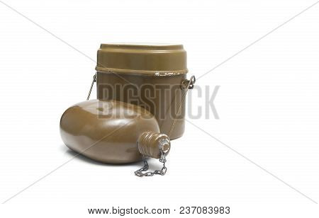 Old Military Flask On White Background. Army Water Bottle And Flask Isolated On White. Military Sold