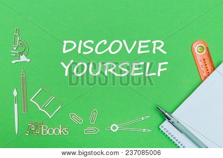 Concept School, Text Discover Yourself, School Supplies Wooden Miniatures, Notebook With Ruler And P