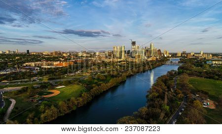 Sunset Hours At Golden Hour Austin , Texas , Usa Skyline Cityscape View Of The Amazing Downtown Towe