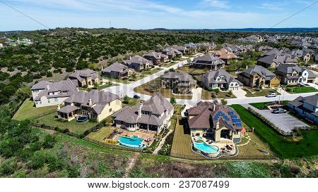New Suburb Development In Dripping Springs , Texas , Usa Aerial Drone View High Above Houses And Hom