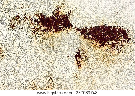 Metal Surface With Cracked Paint And Rust Spots, Background Texture