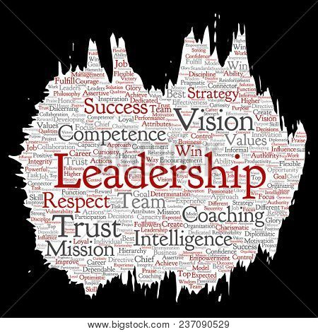 Conceptual business leadership strategy, management value paint brush paper word cloud isolated background. Collage of success, achievement, responsibility, intelligence authority or competence