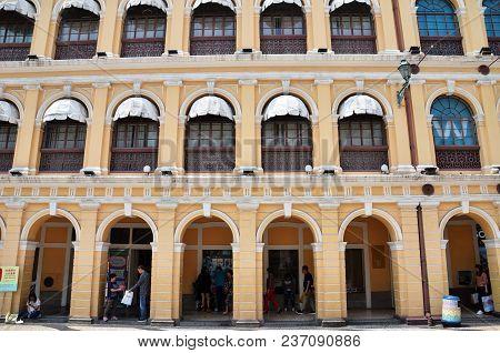 Macau, China- Mar 31, 2018: Historic Centre Of Macau-senado Square In Macau China. The Historic Cent