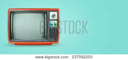Retro Television - Old Vintage Tv On Color Background. Retro Technology. Flat Lay, Top View Hero Hea