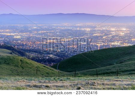 Views Of Silicon Valley At Dusk As Seen From Sierra Vista Open Space Preserve. San Jose, Santa Clara