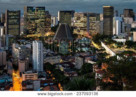 Rio De Janeiro City Downtown View At Night