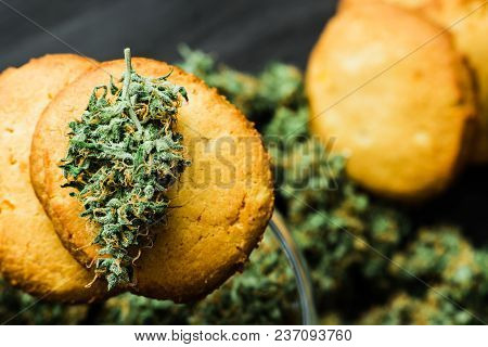 Macro Cookies With Cannabis And Buds Of Marijuana On The Table. A Can Of Cannabis Buds Concept Of Co