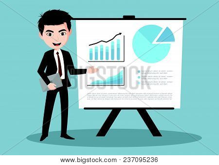 Businessman And Graphs On Projector Screen. Presentation Concept, Seminar, Training, Conference.