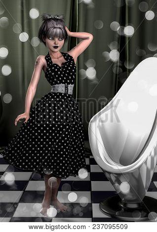 Portrait Of A Pin-up Vintage Goth Girl. 3d Illustration.