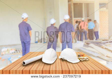 Two White Safety Helmet And Leather Glove Measuring Tape, Roll Paper Plan Blueprint For Engineering