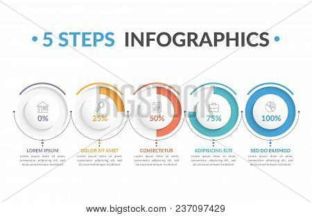 Infographic Template With Five Round Progress Indicators, Five Steps Infographics, Workflow, Process