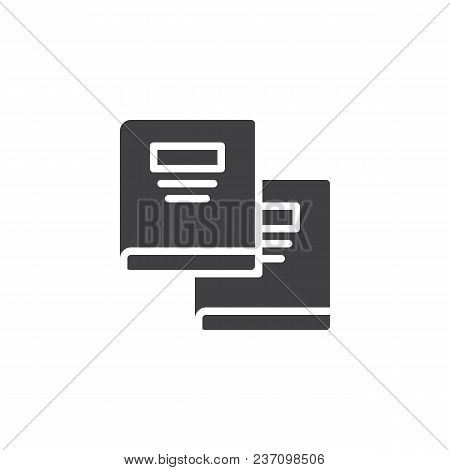 Text Books Vector Icon. Filled Flat Sign For Mobile Concept And Web Design. Copybooks Simple Solid I