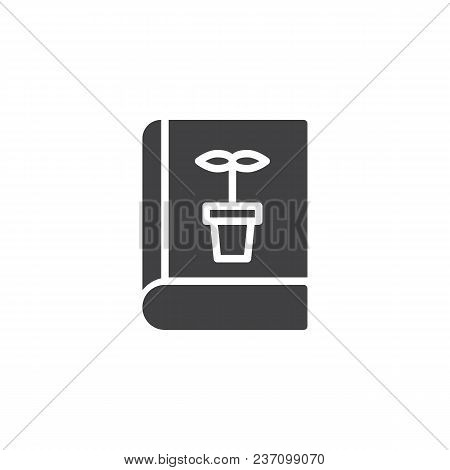 Botany book vector icon. filled flat sign for mobile concept and web design. Book with flower simple solid icon. Symbol, logo illustration. Pixel perfect vector graphics poster