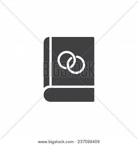 Book With Wedding Rings Vector Icon. Filled Flat Sign For Mobile Concept And Web Design. Education S