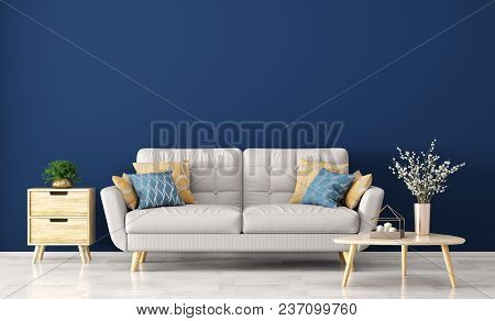 Interior Of Living Room With Gray Sofa, Wooden Coffee Table With Vase With Branch And Side Table Ove
