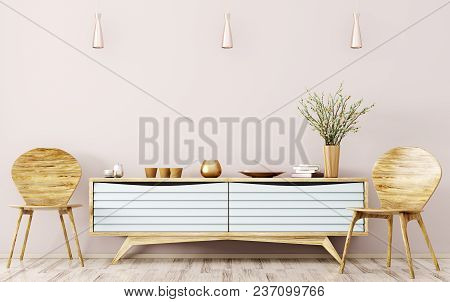 Modern Interior Of Living Room With Wooden Sideboard And Chairs 3d Rendering
