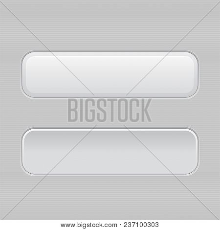 Set Of White Plastic Buttons. Normal And Pushed. Web Interface Buttons. Vector 3d Illustration